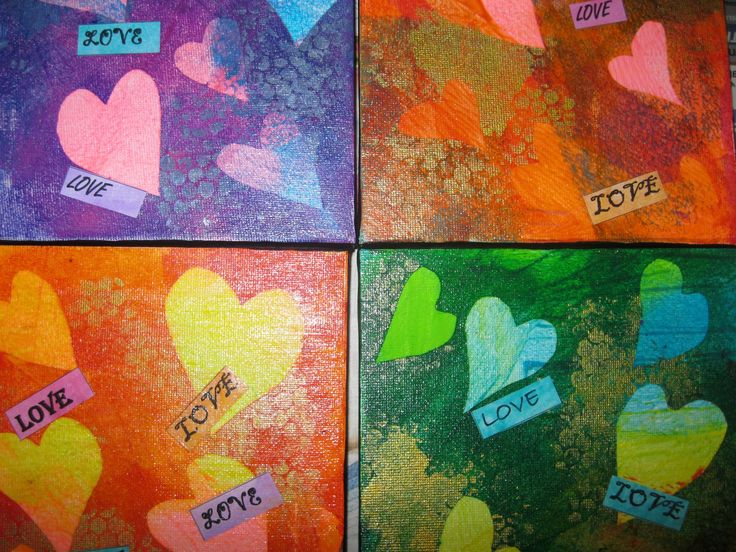 """Small canvases. Used brayer to apply first layer of paint. Clear contact hearts next, layered on more paint, then more hearts. Bubble wrap prints in metallic. Peeled off all hearts to reveal layers of colour. Collage """"love"""" words in different fonts. Clear glaze to finish."""