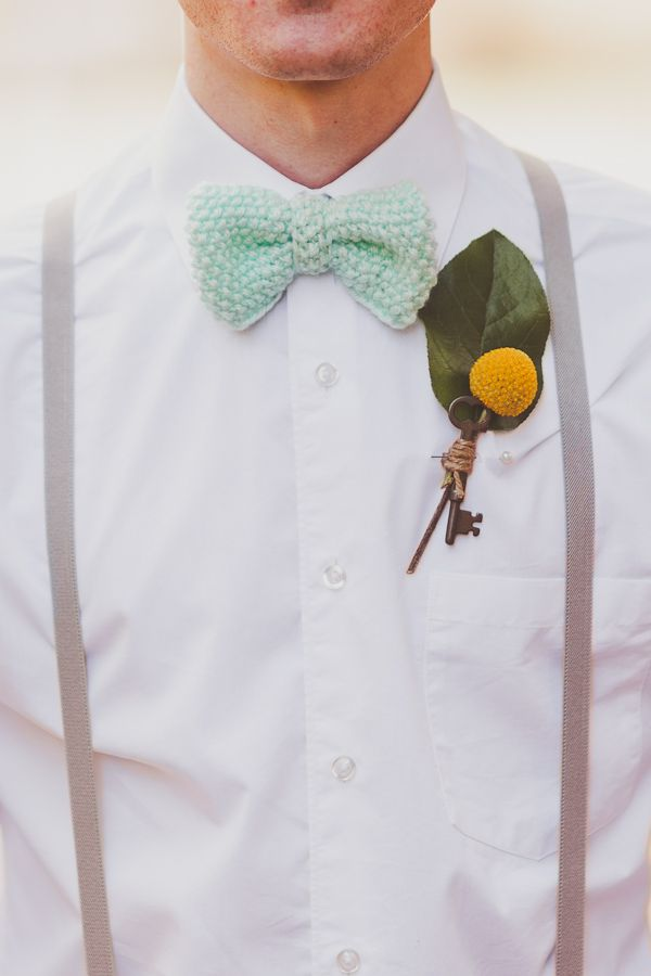 "holy shit is that a crocheted bow-tie. why yes, yes it is. (""...something old..."")"