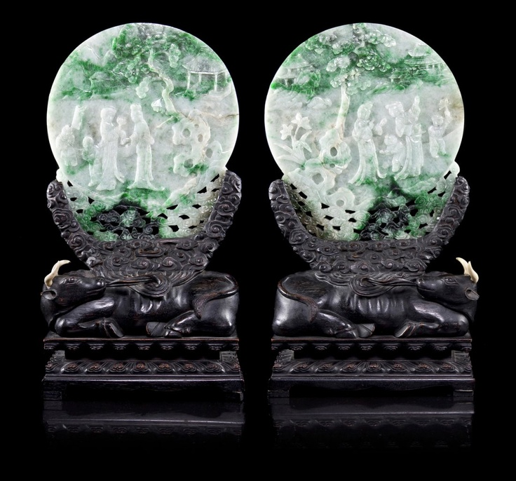 A Pair of Jadeite Table Screens on Hardwood Stands