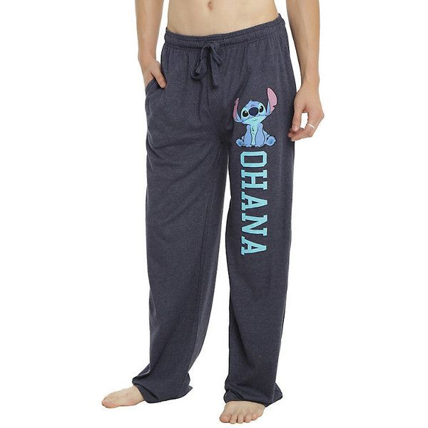 Disney Lilo Stitch Ohana Guys Pajama Pants Hot Topic ($16) ❤ liked on Polyvore featuring intimates, sleepwear, pajamas, disney pjs, disney pajamas, disney sleepwear, cotton pjs and cotton sleepwear