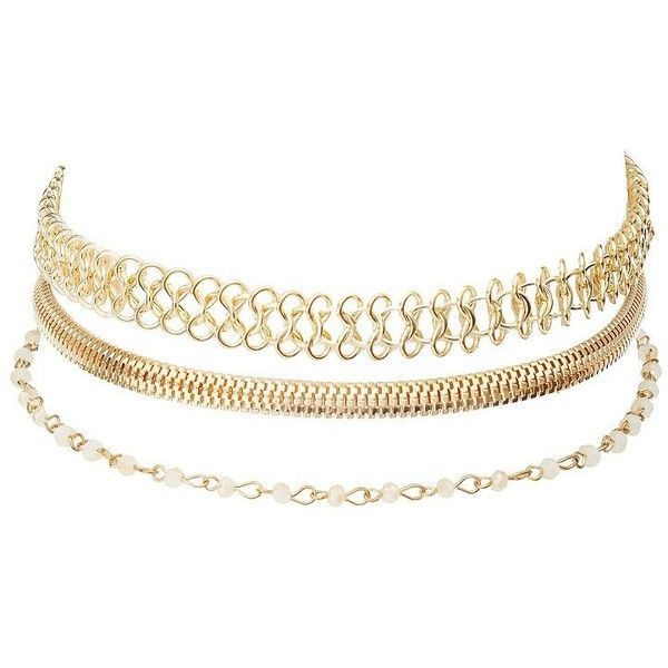 Charlotte Russe Chainlink Choker Necklaces - 3 Pack ($6) ❤ liked on Polyvore featuring jewelry, necklaces, gold, beaded choker, gold bead necklace, chunky gold necklace, beaded jewelry and beaded choker necklace