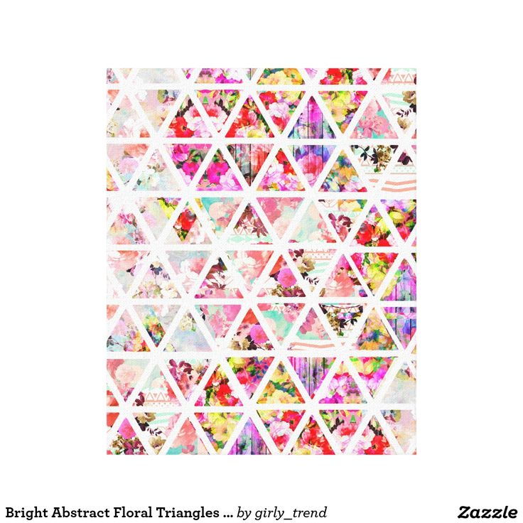 Bright Abstract Floral Triangles Pastel Pattern Canvas Print
