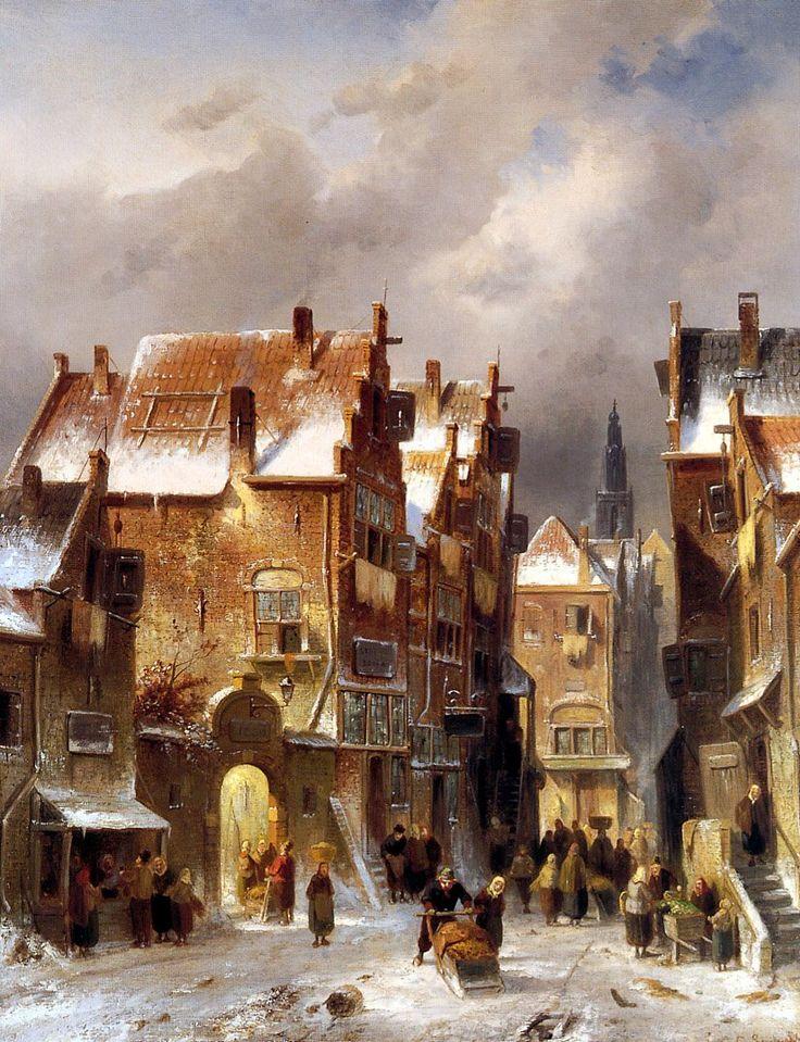 Charles Leickert - Winters stadsgezicht (1) Belgisch kunstenaar, gespecialiseerd in Hollandse landschappen.
