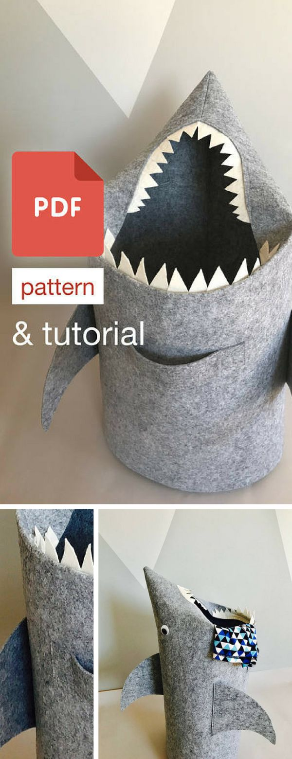 Cool shark laundry hamper, basket pattern for kids. It's also cool children's room decor. Kids will love to play with it. #ad #laundrybasket #laundryhamper #shark #kidsroomdecor #homedecor #pds #sewingpattern #tutorial