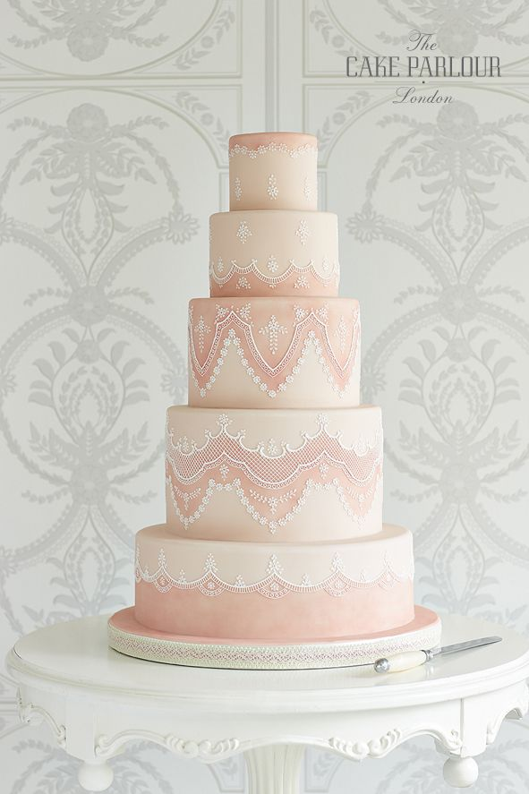 'HANNAH'S' Wedding Cake - Delicate royal-iced wedding cake design inspired by the lace on Hannah's wedding dress.