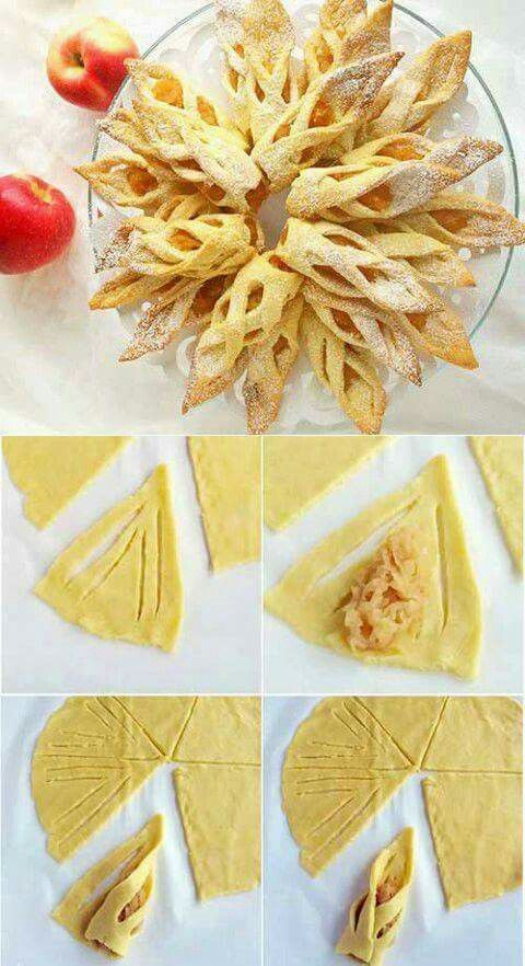 Flame-like apple strudel -- Looks like it would be very easy with pre-made pie dough and a canned filling? I wonder about making something similar with gingerbread for Christmas -- what would you fill them with? Apple filling still?