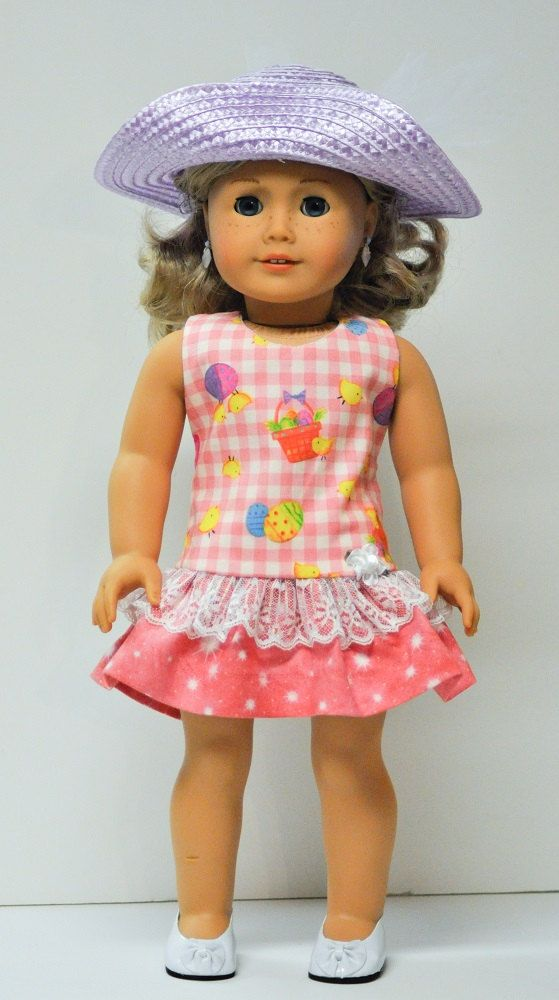 *THIS IS A HANDMADE ITEM AND IS NOT A LICENSED PRODUCT* Your 18 doll will be super cute wearing this sweet spring dress (pattern by Jelly Bean Soup). Its perfect for Easter or anytime she wants to dress up. The dropped waist dress is made from a high quality cotton print of whimsical