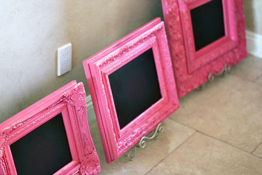 cute spray-painted chalkboard frames!