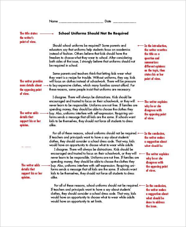 Example essay argumentative
