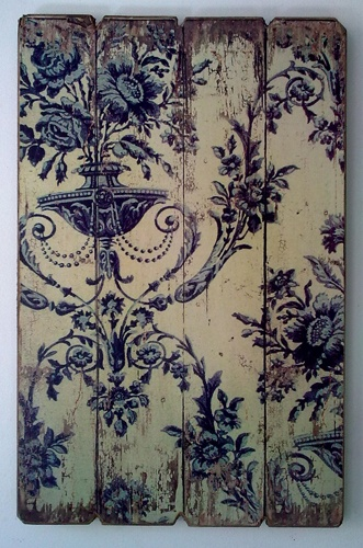 style & iconic <3 blue & white - Vintage Boiserie - Blue colour print on timber board.