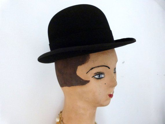 Antique French Black Wool Felt Bowler Hat W Leather Rim Etsy In 2021 Mens Derby Hats Mens Accessories French Antiques