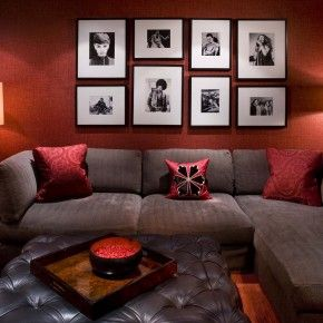 Inspiration Livingroom. Marvelous White Fake Leather Sectional Sofas And Black Glass Top Coffee Table With Red Ottoman Also Red Ceiling And Lights As Decorate Red Living Room Inspiring Design: Glorious Pictures Frames Attach At Red Living Panels As Living Wall Decor Ideas And Cool Brown Leather L Shaped Sectional Sofas As Well As Brown Upholstered Tufted Table In Modern Red Living Room
