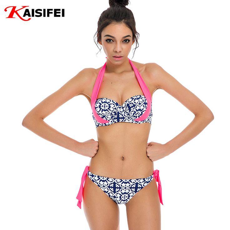 2016 Sexy Bikini Women Swimsuit Push Up Bikini Set Summer Beachwear Bathing Suit Halter Top Swim Wear Plus Size Swimwear XXL