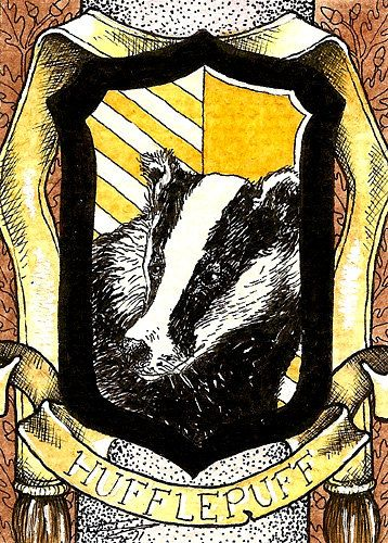Hufflepuff Crest  ACEO Reproductions Harry Potter. $5.00, via Etsy.