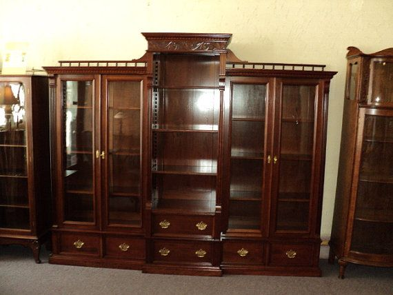 Large Antique Cherry Bookcase, Display Cabinet circa 1900