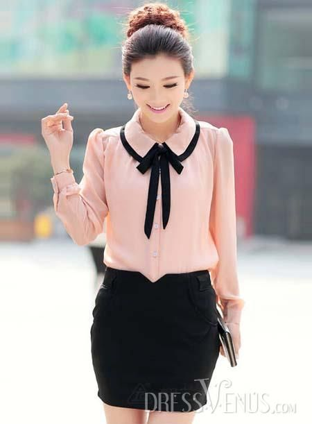 New ArrivalLuxurious Doll Collar Long Sleeves  Blouse