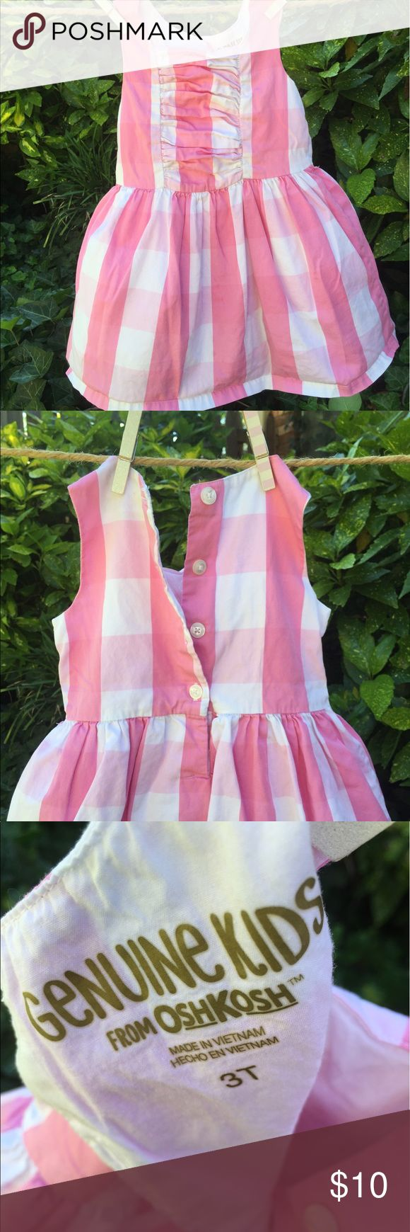 Casual cute pink and white plaid dress Great dress to send her out looking adorable but feeling comfy and ready to play. Great springtime / summer dress for play dates, BBQs, or any casual dressy event. Osh Kosh Dresses Casual