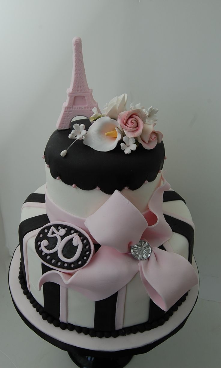 Paris Themed 50th Birthday Cake - She was having a Paris themed party and this cake fit perfectly. Original design by Cakes by Roselyn.