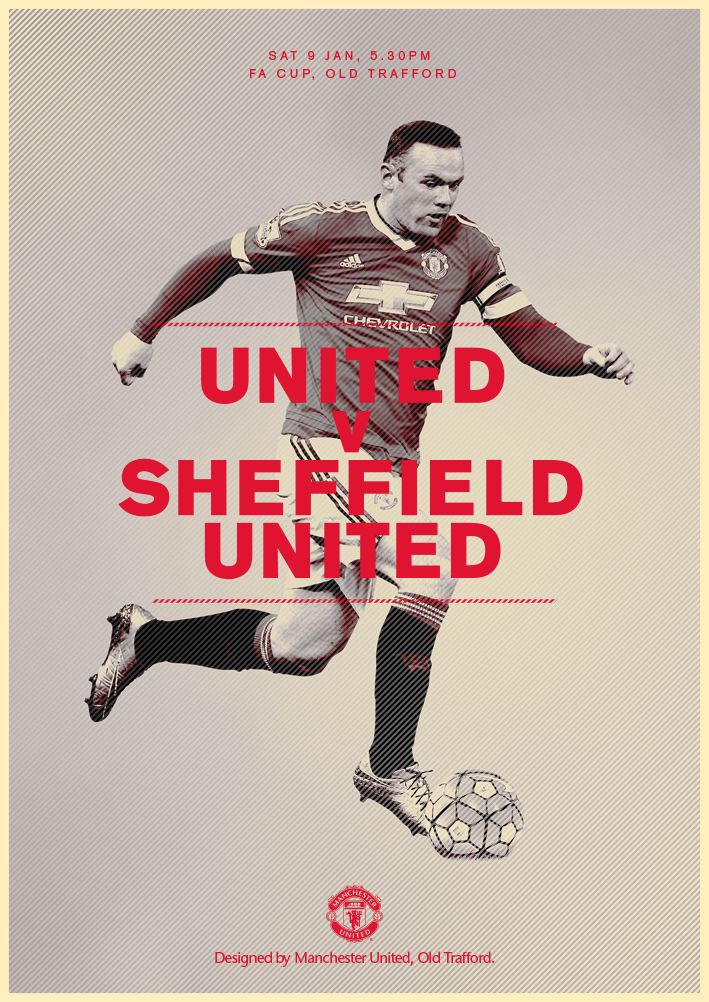 Match poster. Manchester United v Sheffield United, 9 January 2016. Designed by @manutd