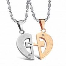 Fashion Heart Puzzle Couple Necklace Titanium Steel Jewelry