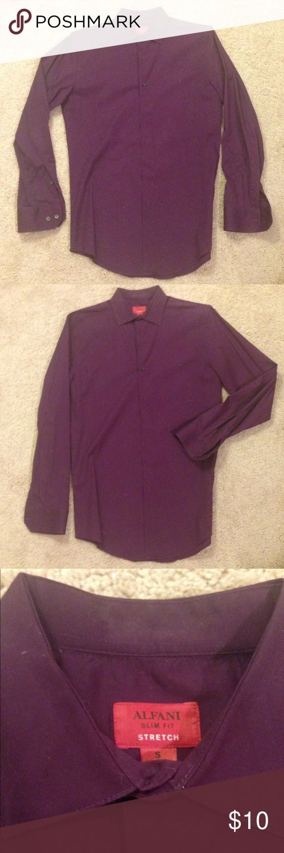 Men's purple dress shirt Slim-fit, stretch dress shirt. Dark purple /  eggplant colored. Gently worn and dry cleaned. All buttons firmly attached (buttons are black). Bundle for HUGE discounts 👍🏻👍🏻 Alfani Shirts Dress Shirts