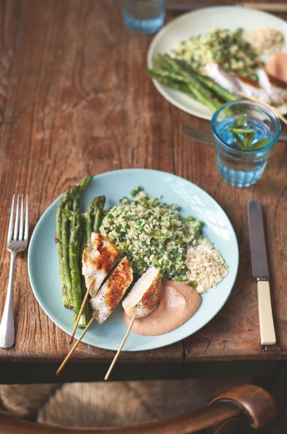 Chicken lollipop dippers, pea and mint cous cous and charred asparagus - Delicious and nutritious