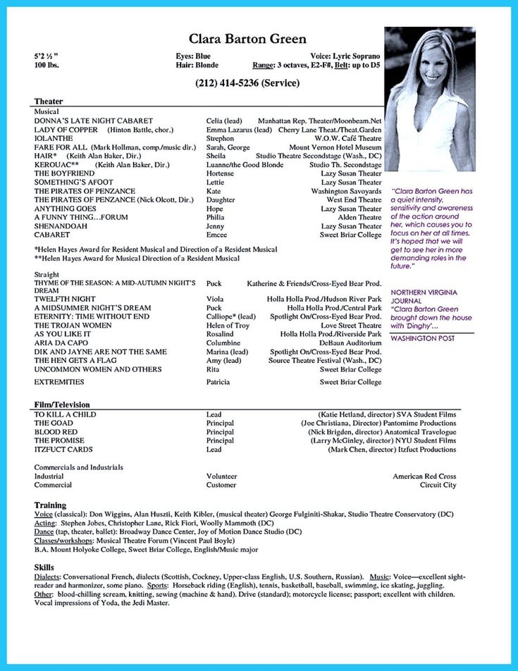 musical theatre resume template word templates objective theater microsoft