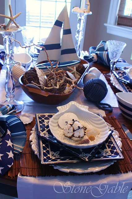 75 best tablescape seaside nautical theme images on pinterest very nautical tablescape love the centerpiece junglespirit Image collections