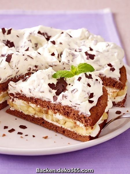 Großartige Torte mit Schokoladenbananencreme
