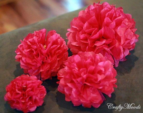 Tissue paper pom pom flowers, so easy to do by milagros