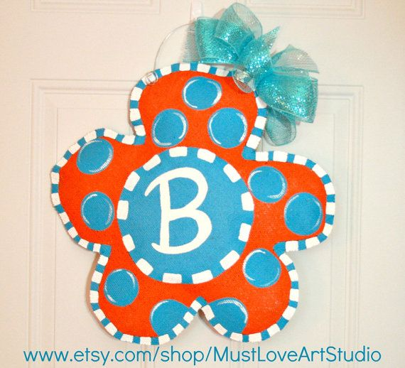 Hand Painted Spring Flower Burlap Door Hanger by MustLoveArtStudio, $35.00