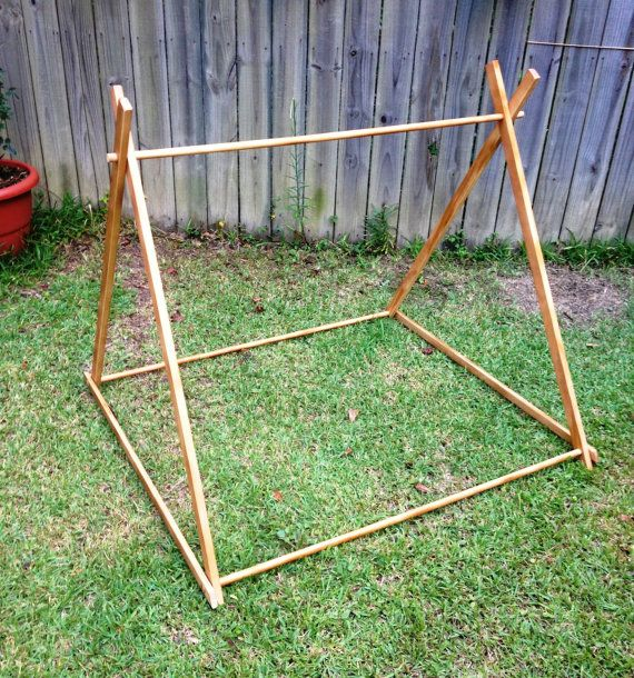 "4 Foot A-Frame measures approximately 44"" wide x 48"" long x 39"" tall but dimensions are adjustable by widening the base. Frame is made of Select Pine 1""x2"""
