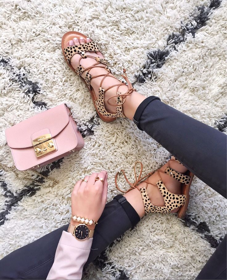 Lace-Up Leopard Sandals
