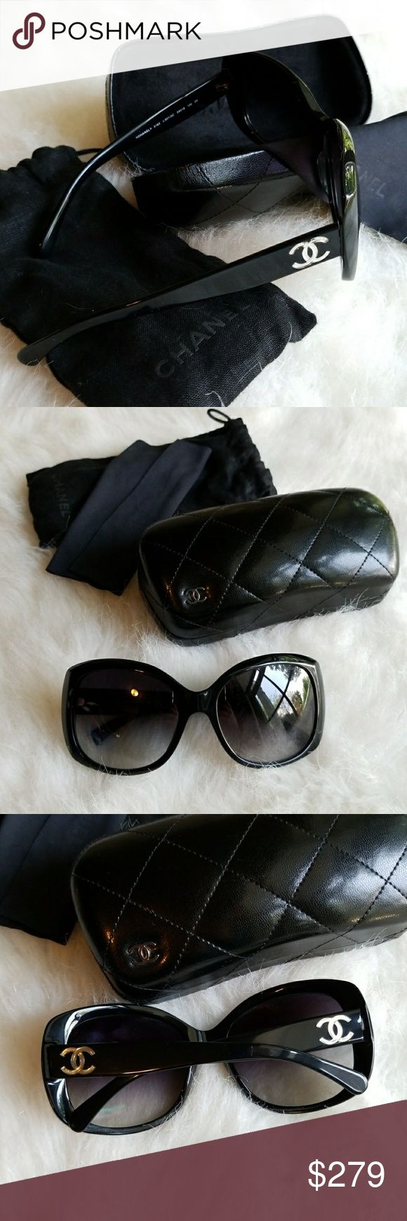 Chanel sunglasses Gorgeous black oversized sunglasses from Chanel. 100% authentic. Box, case, dust bag, dust cloth will be included. If I can find the receipt, I'm pretty sure it's still in the box, I will include it too. Bought at the Chanel boutique in Houston for almost $400 after taxes. Still in great condition. No scratch on the lenses. Only minimal scratch I could find is on top right of frame (pic with finger) and it's not deep. Style # A40834X0108159 CHANEL Accessories Sunglasses