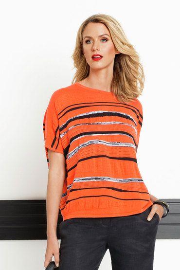 Buy Marco Polo Sunrise Stripe Poncho | Shop Tops Womenswear at the BrandStore EziBuy NZ