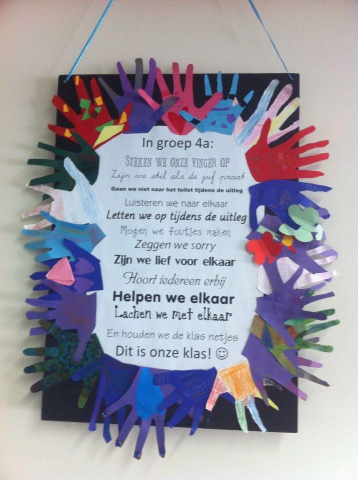 """""""In groep 4a...."""" Poster met de regels van de klas. Met een """"handtekening"""" van elk kind. Wij zijn een klas!"""