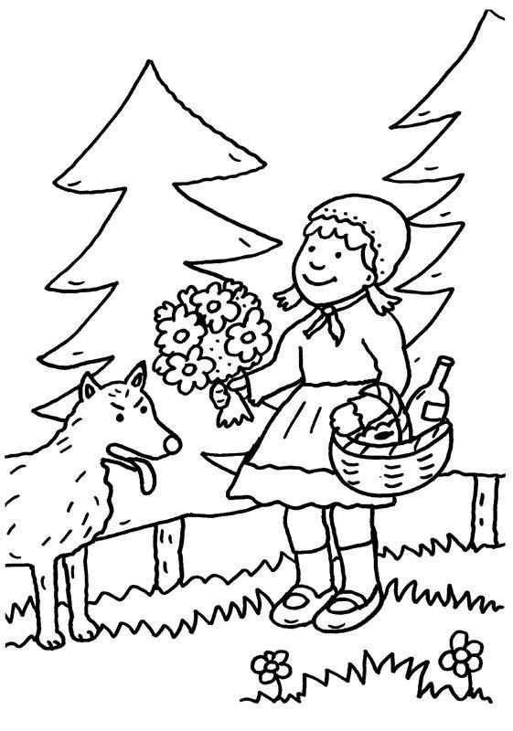 Ausmalbild Märchen: Rotkäppchen zum Ausmalen kostenlos ausdrucken
