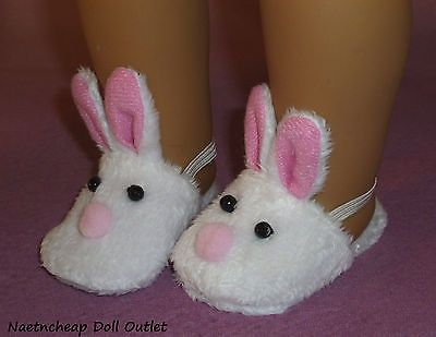 "Pink Bunny Slip on Slippers Fits 18"" American Girl Doll Clothes Bedroom Shoes"