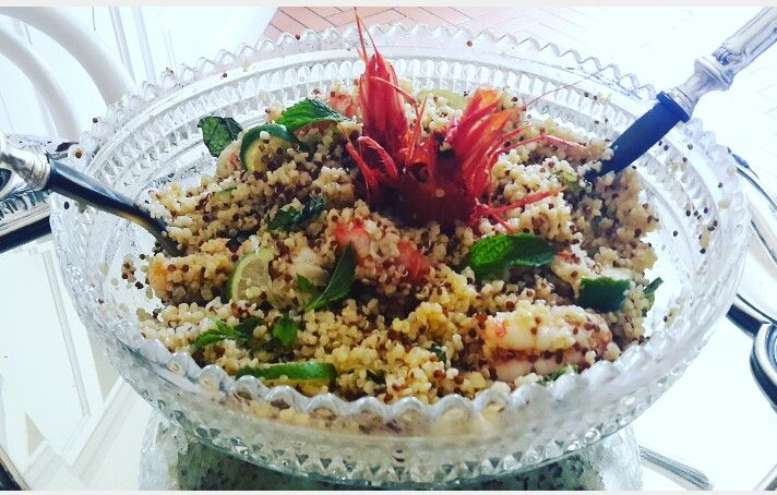 #Quinoa#Bulgur#shripms#mint end lime....💖