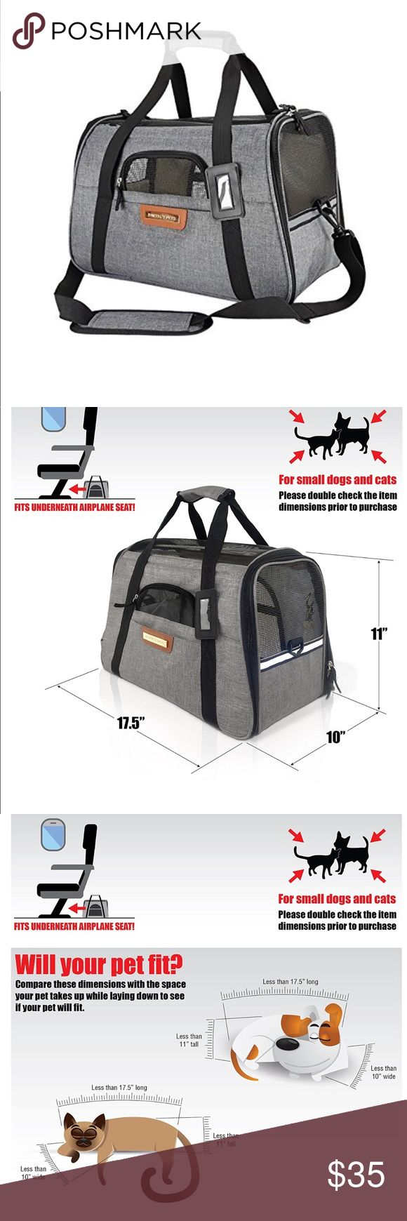 "Pet Travel Carrier Bag New with the original packaging. KEEP YOUR SMALL PET WITH YOU ON FLIGHTS- Small cats, tiny dogs and toy breeds find this carrier spacious and comfortable for airline and car travel. The soft-sided in-cabin pet carrier is approved by most major airlines. Fits under your seat. Carrier measures 17.5""L x 10""W x 11""H. Other"