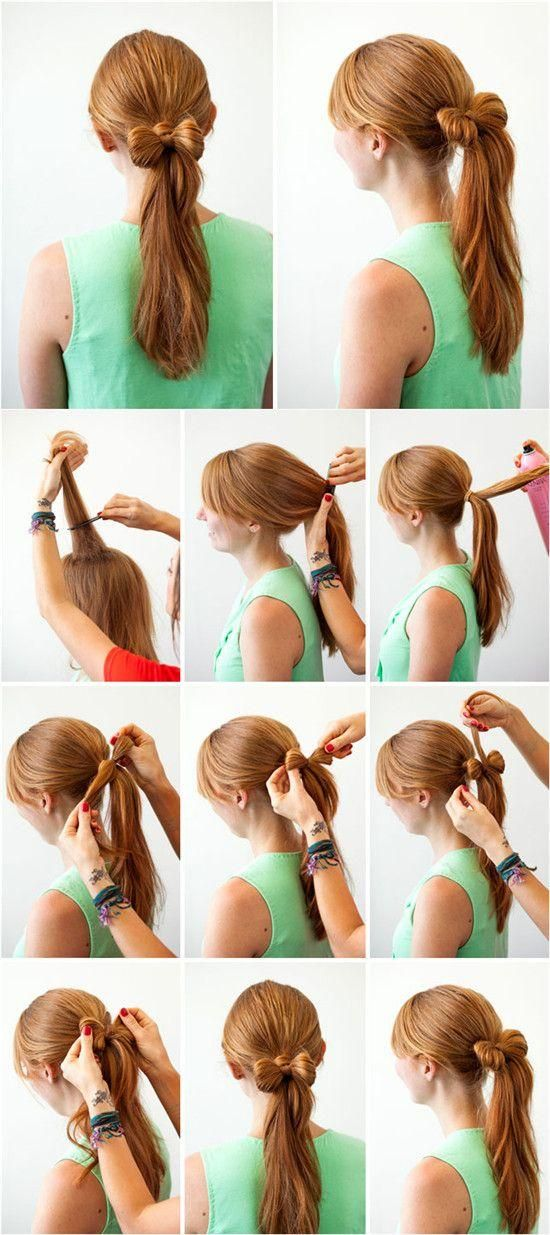 This hair style has a bow and a ponytail together. I want to try it.