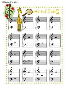 This bingo-type game adds G to the set that includes C, D, E, and F. Over 200 pages of music education and piano games and printables at www.SusanParadis.com