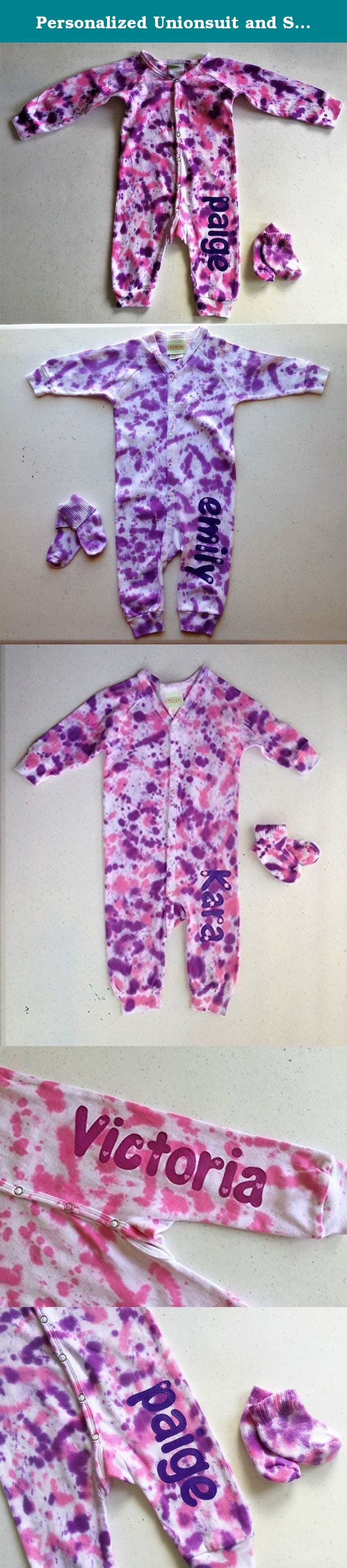 Personalized Unionsuit and Socks ~ Tie Dye & Hand Painted. This adorable 100% cotton Unionsuit has long sleeves and legs with front snaps and elastic wrist and ankle bands. So cute tie dyed but even cuter with baby's name down the leg! Matching socks are included. Dyes won't fade and are infant safe, paint is soft and non-toxic. Unionsuit is machine washable and will arrive wrapped in cellophane with attached washing instructions. If you are purchasing as a gift, I am happy to enclose a...