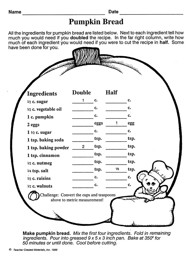 pumpkin bread multiplication and division of fractions worksheet math blaster work. Black Bedroom Furniture Sets. Home Design Ideas