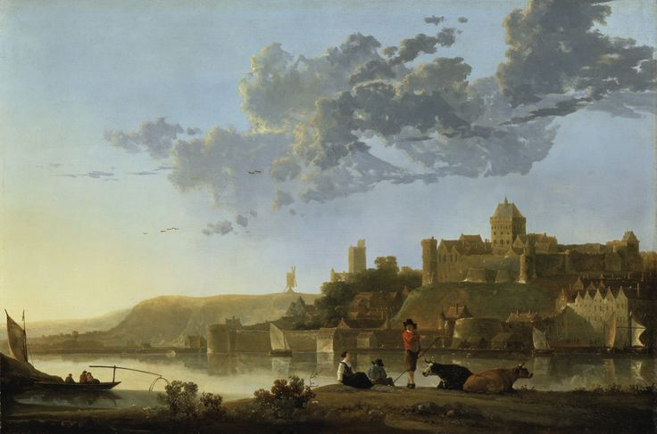 """Nijmegen as painted by Albert Cuyp, 1652. """" The historic town of Nijmegen, with its medieval fortifications, was a popular subject with Dutch artists. The citadel known as the Valkhof had a strong patriotic appeal as the stronghold of Claudius Civilis, the ancient hero who led the Batavians in revolt against the Romans. This 1st-century uprising invited comparison with the successful Dutch rebellion against Spain."""""""