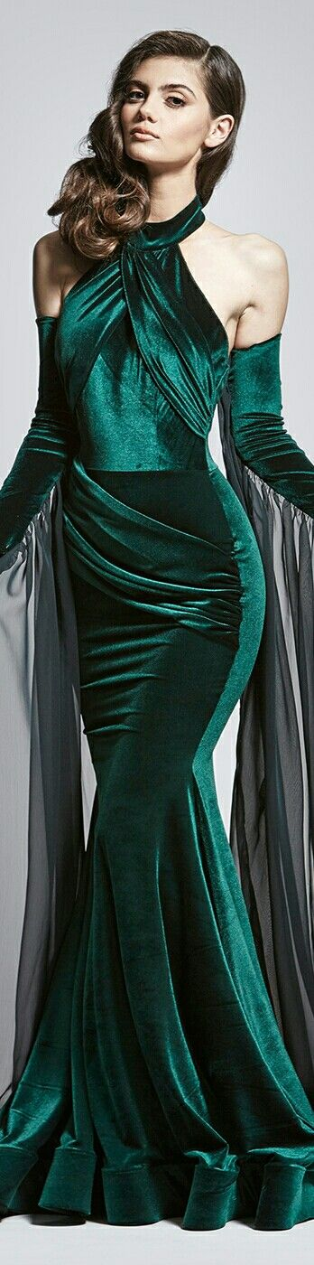 WALTER MENDEZ ▪ NORA EMERALD GOWN w. Detachable Sleeves▪ 2016