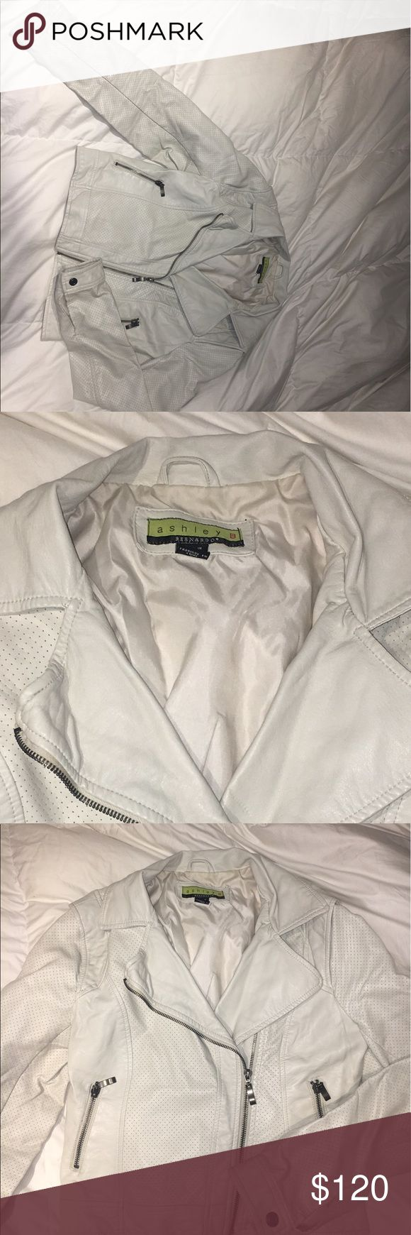 White leather jacket A lightly worn Bernardo leather jacket for sale because it is too small for me! I love it and hope someone else will enjoy it too. There is a slight tear in the back but can be easily fixed. Bernardo Jackets & Coats Utility Jackets