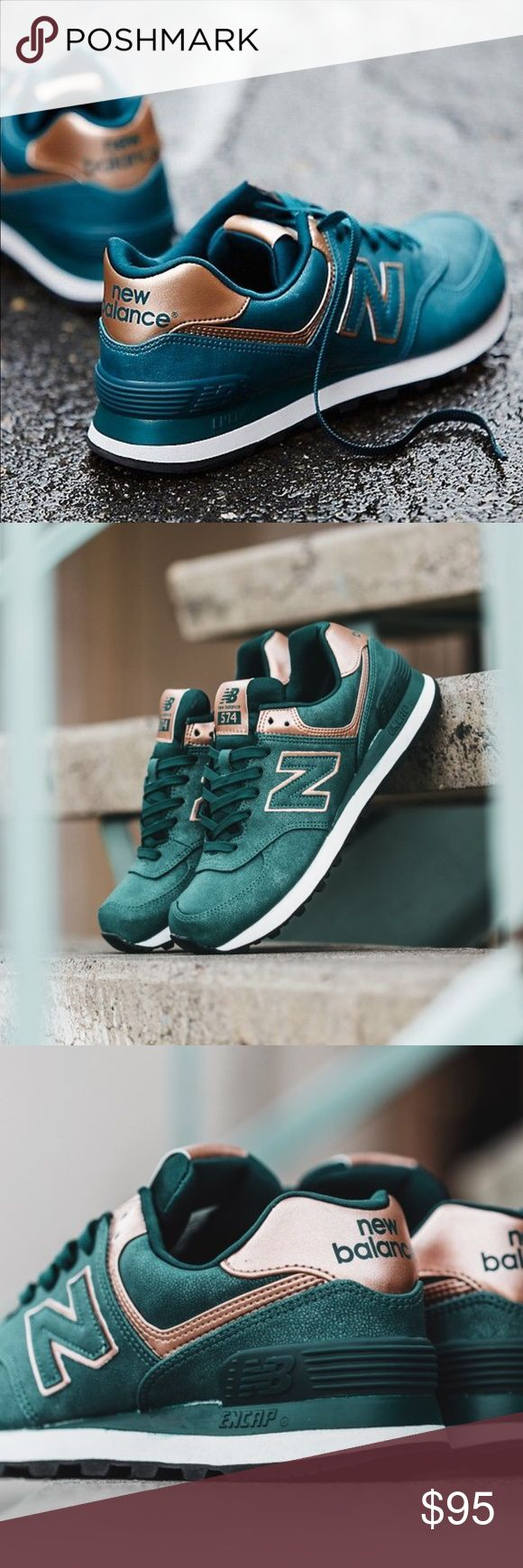 "New Balance 574 sneakers in emerald and rose gold New Balance 574 sneakers in emerald and rose gold. ""Precious Metals"" line. Hard to find size and color. Selling for $120+ on other sites. Brand new in box. No trades. No PayPal. Additional photos coming soon. New Balance Shoes Athletic Shoes"