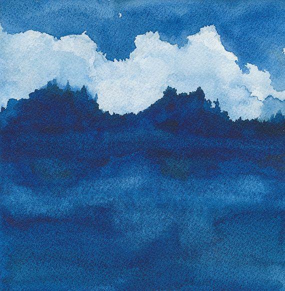 Clouds Over River - Archiv de peinture aquarelle, 8 X 8 pouces