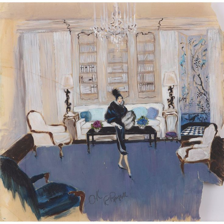Orry-Kelly set concept artwork for Auntie Mame signed by Rosalind Russell